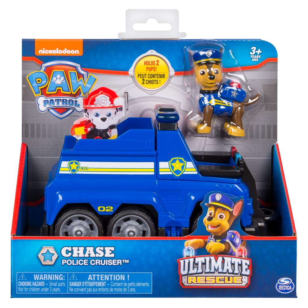 PAW Patrol Ultimate Rescue, Chase's Ultimate Rescue Police Cruiser with Lifting Seat and Fold-out Barricade, for Ages 3 and Up