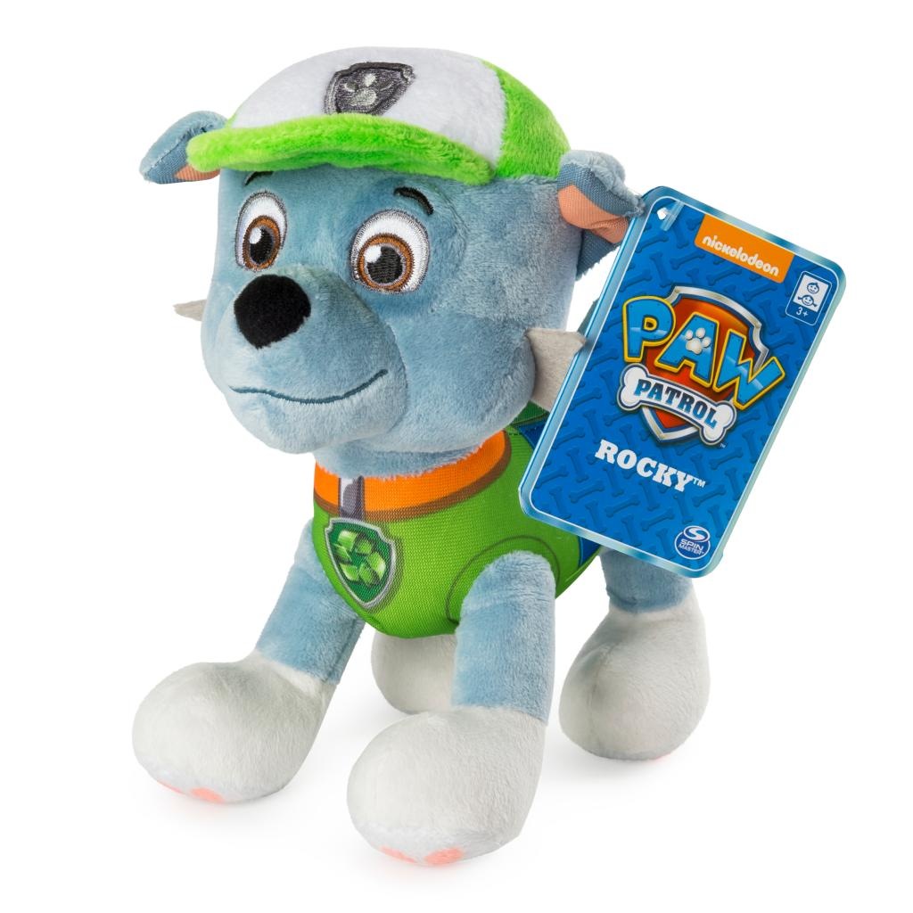"""PAW Patrol – 8"""" Rocky Plush Toy, Standing Plush with Stitched Detailing, for Ages 3 and up"""