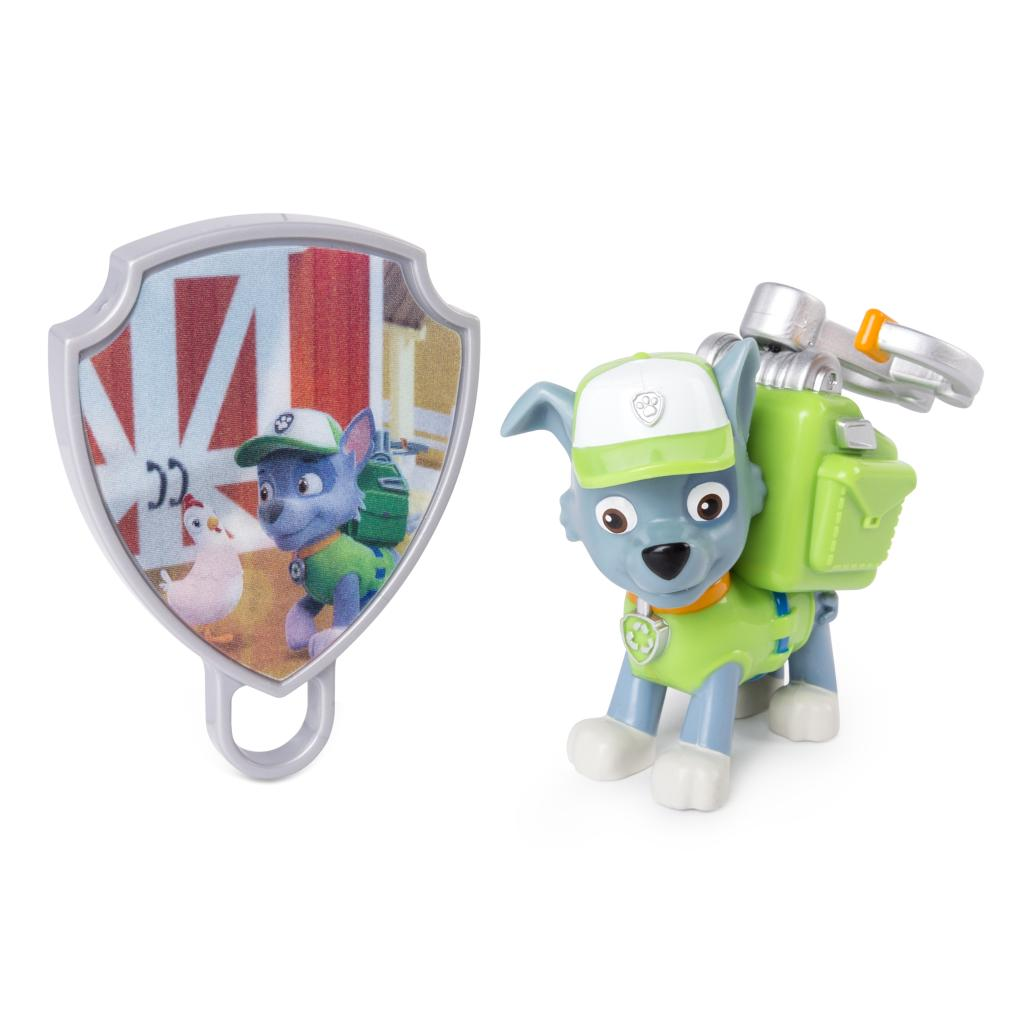 PAW Patrol - Action Pack Rocky with Extendable Hook and Collectible Pup Badge