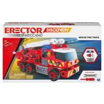 Erector by Meccano Discovery, Rescue Fire Truck with Lights and Sounds STEAM Building Kit, for Kids Aged 5 and up