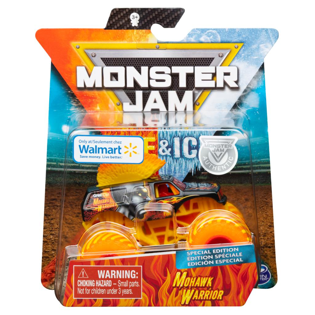 Spin Master Monster Jam Monster Jam Fire Ice Mohawk Warrior Monster Truck Die Cast Vehicle Walmart Exclusive 1 64 Scale